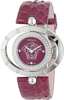 Women's 91Q91FD702 S702 Violet Dial Snake Leather Rotating Bezel Diamond Watch