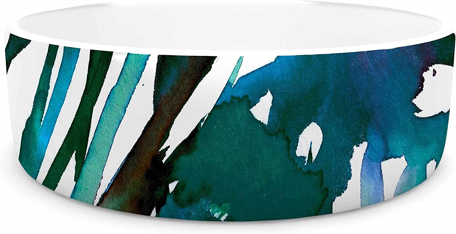 KESS InHouse Ebi Emporium Petal for your Thoughts Teal  Turquoise Green Pet Bowl, 7