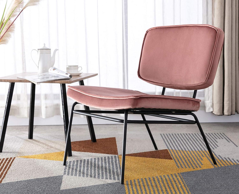 セール品 Guyou Modern Armless Pink 高品質 Accent Chair Lounge Bedroom for