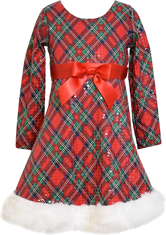 Big Girls Tween 7-16 Red/Green Spangled Diamond Plaid Fit Flare Santa Dress