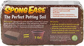 SpongEase Potting Soil Coconut Coir Brick, Makes 2gal for seedlings, rooting, vegetables, berries, roses, orchids, house plants. Supplies oxygen, water and your added fertilizer to roots eco friendly