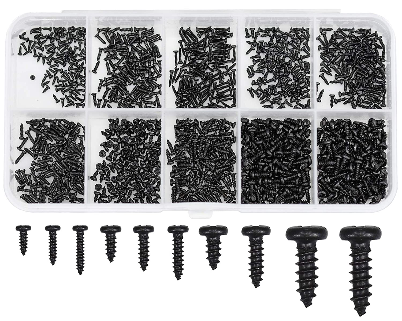 Winfred 1000 Tornillos Pequeños para Madera de Cabeza Plana Tornillos de Acero Surtido, Tornillos Autorroscantes M1 M1.2 M1.4 M1.7 para Reparación de Gafas Reloj Accesorios de Joyería Negro