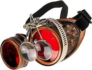 MFAZ Morefaz Ltd Gafas de Sol Welding Cyber Goggles Steampunk Goth Cosplay Sunglasses Round Glasses Party Fancy Dress (Copper Loupe)