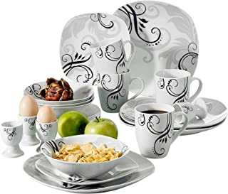 VEWEET 20-Piece Porcelain Tableware Set Decal Patterns Dinnerware Sets with Dinner Plate, Dessert Plate, Bowl, Mug, Egg Cup, Service for 4 (ZOEY Series)