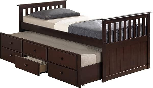 Broyhill 儿童马可岛船长 S 床,带滚轮床和抽屉,双人浓缩咖啡,双人床垫,不包括双层床,适合过夜,床下储物组织