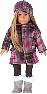 WWS Toy - 18 inch Doll for Girl, Soft Body, Brown Hair, Plaid Coat, Includes 6 Pieces - X1 Doll, X1 Plaid Coat, X1 Tights, X1 Plaid Cap and X1 Fur Boots and X1 Underwear