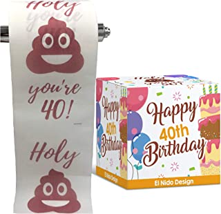 40th Birthday Toilet Paper - Happy birthday toilet paper prank– Funny 40th birthday gifts for men and women– best friend b...