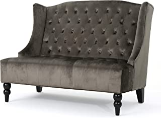 Christopher Knight Home Leona Traditional High Back Tufted Winged Fabric Loveseat (Grey)