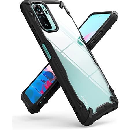 Ringke Fusion-X Compatible with Xiaomi Redmi Note 10 Case, Redmi Note 10S Case, Clear Back Heavy Duty Shockproof TPU Rugged Bumper Phone Cover - Black
