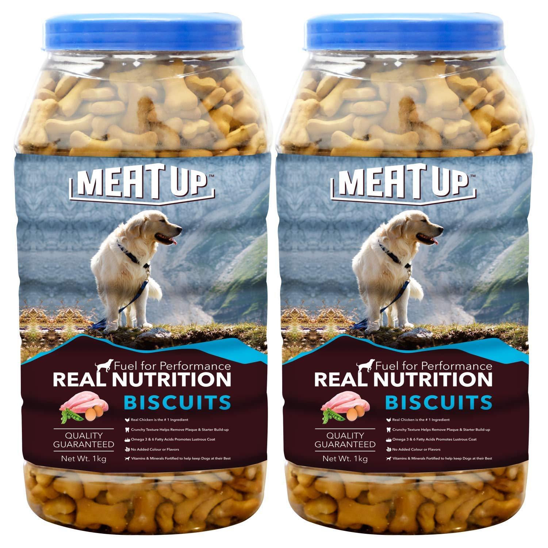 Meat Up Chicken Flavour Real Chicken Biscuit, 1kg ( Buy 1 Get 1 Free)