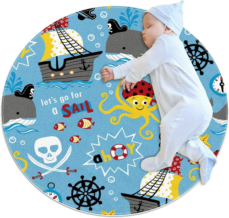 Pirates Theme Cartoon Premium Save money Kids Nursery Play Mat Rug C Round Ranking TOP7