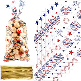 Chuangdi 100 Pack Baseball Party Cello Bags Cellophane Bag for Birthday Party Supplies Favors Party Supply Bags Goody Favor Bags