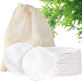 Reusable Makeup Remover Pads, 14 Pack Eco-Friendly Cotton Rounds with Washable Laundry Bag, Reusable Cotton Pads for All S...
