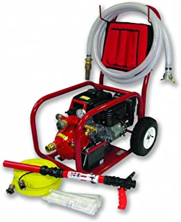 Home Firefighting HF-S14FC-150F-BK Pool Fire Pump Cart System with 1.5-Inch Fire Hose and 30 gpm Solid Cartridge Foam System