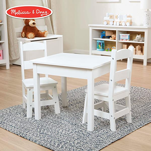 Melissa Doug Solid Wood Table Chairs Sturdy Wooden Construction 100 Pound Capacity Easy To Assemble 3 Piece Set 20 W X 23 5 H X 20 5 L Renewed