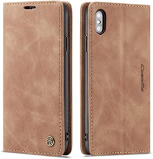 Phone Cover for iPhone Xs MAX 2018 Leather,6.5inch Kickstand Brown Retro 2Card Slot (ID Card,Credit Card) and Bills Slot Flip Shell,Accurate Cutouts Full Protection Gift for Gift Girls Boys Unisex