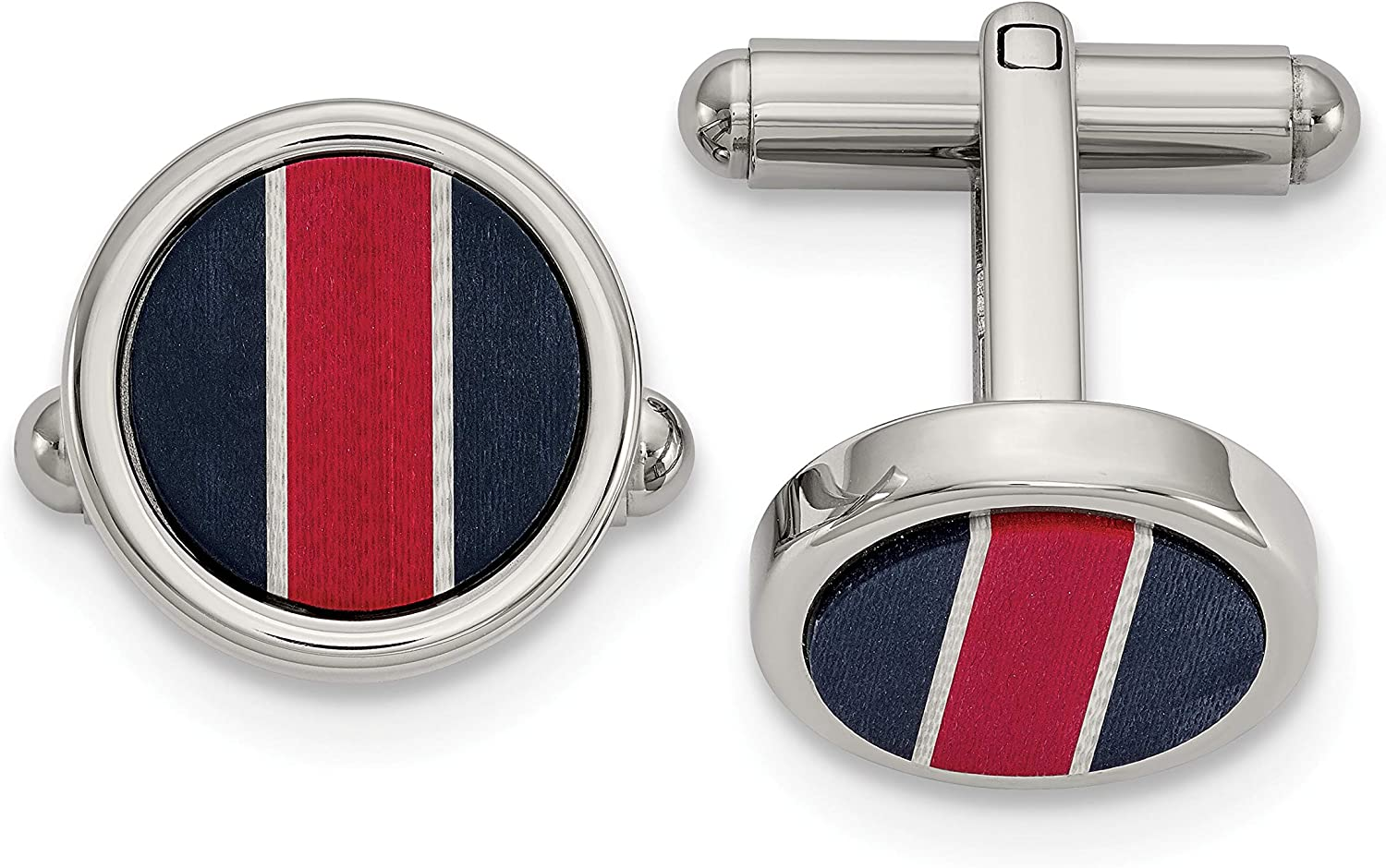 Stainless Steel Polished BlkCarbon & Red/White FiberGlass Inlay Cuff Links