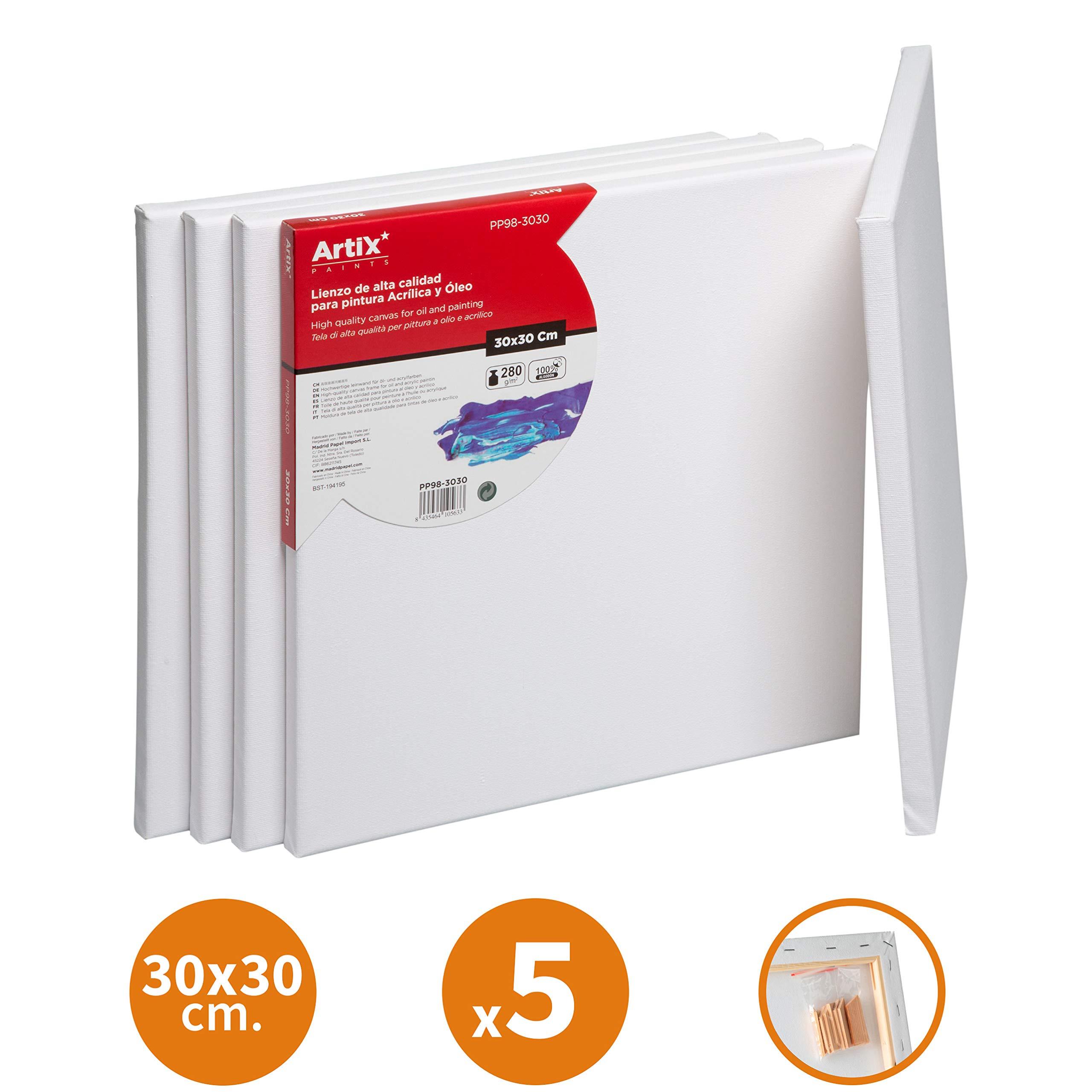 Pack 5 Lienzos Pre-estirados Lienzos para Pintar 30x30cm Lienzo Blanco Algodon 100% para Pintura Acrilica, Oleo y Técnica Mixta | Artix PRO: Amazon.es: Hogar