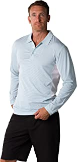 SanSoleil Men's SolCool UV 50 Long Sleeve Stripe Button Polo