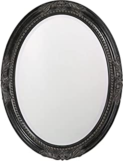 Howard Elliott Queen Ann Oval Hanging Wall Mirror, Beveled, Vanity, Antique Black, 25 x 33 Inch