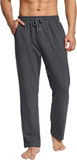 Mens Yoga Sweatpants Open Bottom Workout Joggers Pants Loose Drawstring Lounge Pajama Pants with Pockets