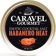 Habanero Heat Exotic Cocktail Salt - All Natural Sea Salt Infused With Habanero Pepper - A Perfect Accent To Your Cocktail - Gluten Free No-MSG Non GMO Rimming & Finishing salt - 5 Ounces Stackable Ja