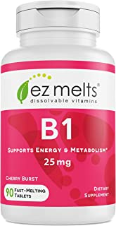 EZ Melts B1 as Thiamine, 25 mg, Sublingual Vitamins, Vegan, Zero Sugar, Natural Cherry Flavor, 90 Fast Dissolve Tablets