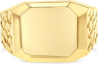 Ioka - 14K Solid Yellow Gold 12MM Men's Ring