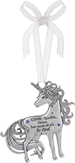 The Lakeside Collection 3 Inch Inspirational Zinc Unicorn Ornament - Glitter, Sparkle, Shine