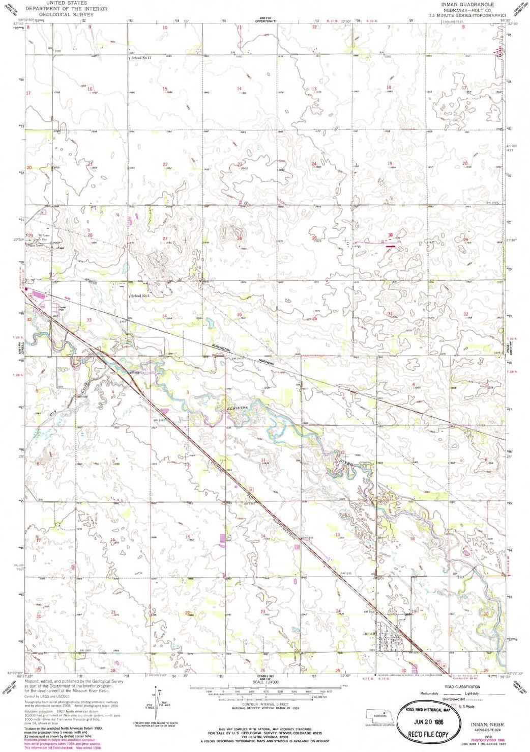 YellowMaps Inman NE topo map 1:24000 X 7.5 Outlet sale feature H Minute Scale sale