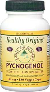 Healthy Origins Pycnogenol Veg Capsules, 30 mg, 180 Count