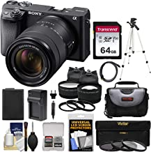 Sony Alpha A6400 4K Wi-Fi Digital Camera & 18-135mm Lens with 64GB Card + Battery + Charger + Case + Tripod + 2 Lens Kit