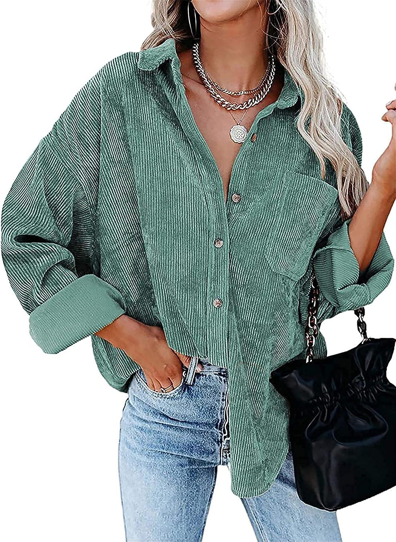 Women Corduroy Shirts Long Sleeve Button Down Shirt Casual Warm Oversized Jacket Blouses Tops Shirts