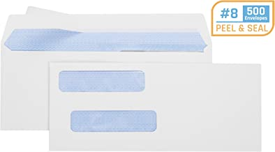 """Office Deed 500 Pack #8 Double Window Envelope SELF Seal Adhesive Tinted Security Envelopes Quickbooks Check, Business Check, Documents Secure Mailing, 3 5/8"""" x 8 11/16"""", White Envelope"""