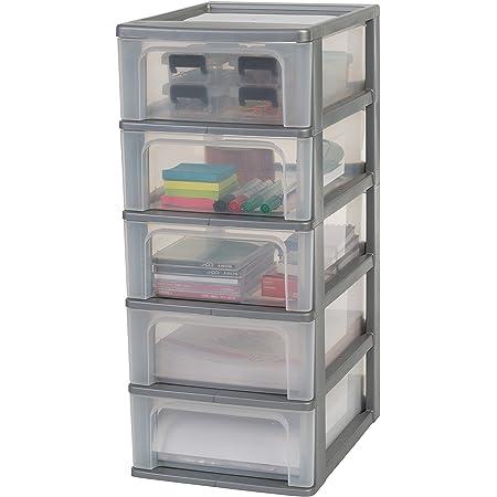 Amazon Basics 135657 Tour de Rangement 5 tiroirs Organizer Chest, Plastique, Gris, 5 x 7 L