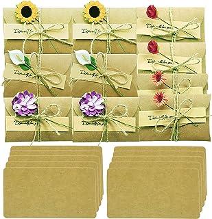 "Handmade Flower Greeting Card Gift Card Holder with envelope Wish Card Message Slip Thank You Card DIY Vintage Kraft 2.79""x4.13"" Pack of 10"
