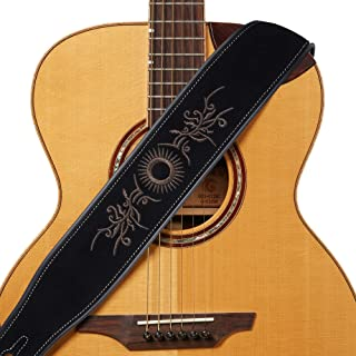 Amumu Guitar Strap Embroidered Suede Leather for Acoustic, Electric and Bass Guitars -Black