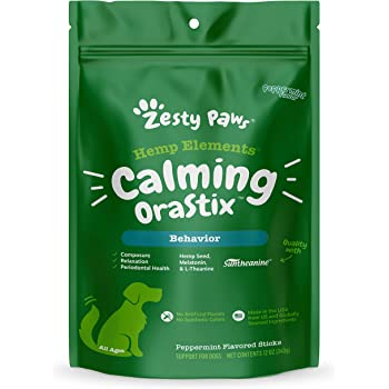 Zesty Paws Calming Sticks for Dogs - for Normal Stress & Hyperactivity - Hemp Seed, Melatonin & Chamomile - Proprietary Healthy Teeth & Gum Blend - Helps Relaxation for Environmental Stress