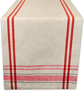 (Red, Table Runner 36cm x 270cm ) - DII 100% Cotton, Machine Washable, Everyday French Stripe Kitchen Table Runner For Din...