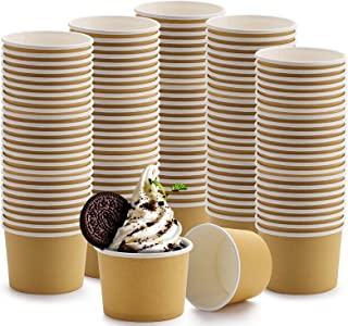 Lawei 100 Pack Paper Ice Cream Cups - 8 Oz Disposable Paper Dessert Bowls for Hot and Cold Food, Soup, Sundae, Frozen Yogurt