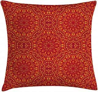 Throw Pillow Cover, Red Mandala Throw Pillow Cushion Cover, Tribal Motifs Details Floral Wisdom Eastern, Decorative Square Accent Pillow Case 22