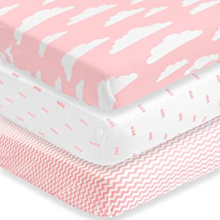BaeBae Goods Premium Crib Sheets for Baby Girls, 3 Pack, Soft and Breathable Jersey Cotton Fitted Sheet Set, Pink and Whit...