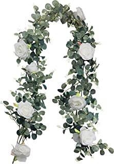 RECUTMS Artificial Eucalyptus Garland with Roses Ivy Greenery Leaf Garland Plants Vine Foliage Flowers Hanging for Wedding Party Garden Home Wall Decoration (White)