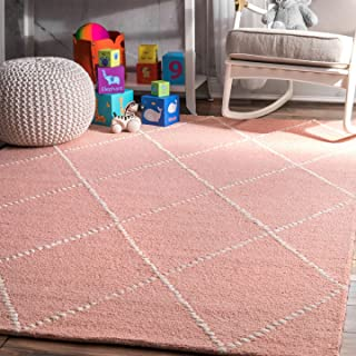 nuLOOM Dotted Diamond Trellis Wool Rug, 5' x 8', Baby Pink
