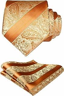 HISDERN Solid Paisley Tie Handkerchief Woven Men's Wedding Necktie & Pocket Square Set