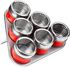 Premier Housewares Magnetic Tray with 6 Spice Jars - Red