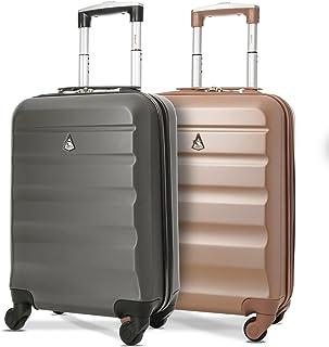 comprar comparacion Aerolite ABS Juego de 2 55cm Maleta Equipaje de Mano Cabina rígida Ligera con 4 Ruedas (Rosa Oro + Carbón)
