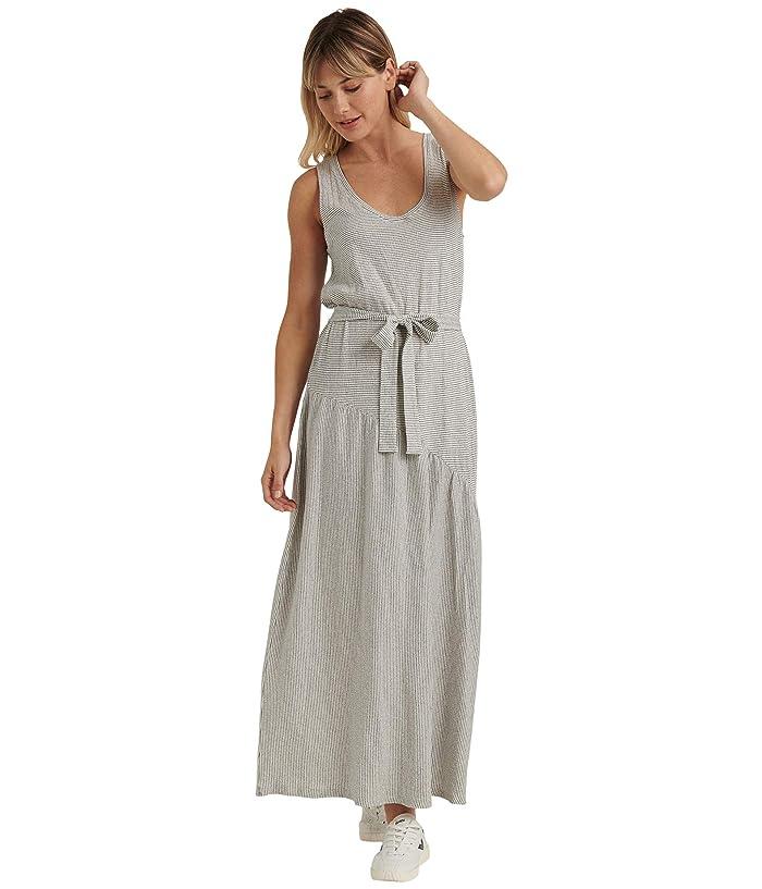 Lucky Brand  Sleeveless Crew Neck Eliza Belted Maxi Dress (White/Navy) Womens Clothing