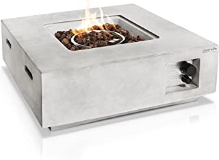 Outdoor Propane Fire Pit Table - CSA/ETL Certified Safe 40,000 Pulse Ignition Weatherproof Square Propane Gas Fire Table -...