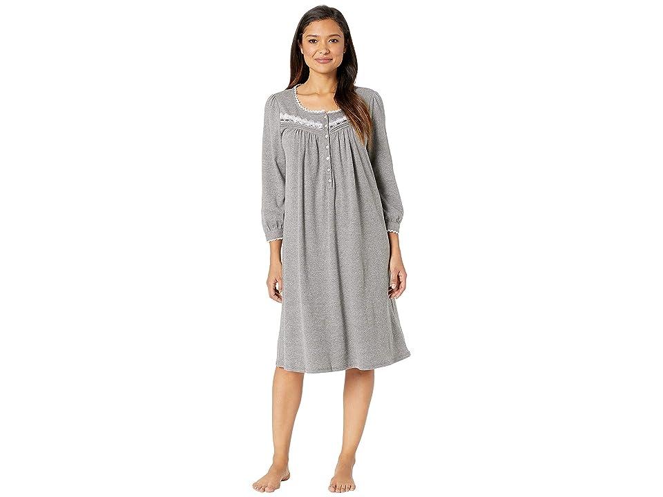 Eileen West Waltz Long Sleeve Nightgown (Grey Heather) Women